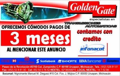 GOLDEN GATE. PAGA EN 3 MESES SI MENCIONAS ESTE ANUNCIO